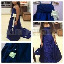 wedding photo - Blue Satin Baby Flower Girl's Gown for Weddings, Birthdays, Parties and Engagements