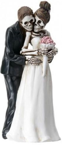 wedding photo - Halloween Wedding Cake Toppers-Bride and Groom Pose for Camera DOD Love Never Dies Goth Weddings-Romantic Skeleton Couple Posing Figurines-T