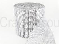 "wedding photo - Silver 4.75""x10 Yards Diamond Sharp Mesh Wrap Roll Sparkle Rhinestone Crystal Ribbon"