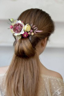 wedding photo - Flower comb ivory purple floral head piece woodland hair back bridal flowers hair Wedding comb flower berries head bridesmaid floral comb