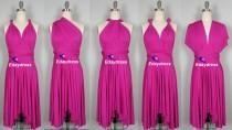 wedding photo - Summer Multi Way Hot Pink Fuschia Bridesmaid Dress Infinity Short Knee Length Wrap Convertible Dress Wedding Dress Evening Dresses