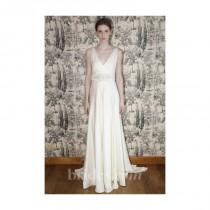 wedding photo - Temperley London - 2013 - Madison Sleeveless Silk Satin A-Line Wedding Dress with V-Neckline and Embroidered Belt - Stunning Cheap Wedding Dresses