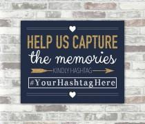 wedding photo - PRINTABLE Personalised Wedding Hashtag Sign - Navy, White and Gold Glitter Effect - 8x10 digital files - Social Media Photos Sharing Bridal