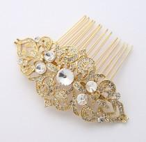 wedding photo - Gold Bridal Comb Vintage Old Hollywood Gatsby Wedding Hairpiece Rhinestone Gold Hair Combs Bridesmaid Bridal Hair Jewelry Accessory