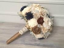 wedding photo - Navy, Burlap, Ivory Bouquet made with sola flowers - choose colors - Custom - Alternative bridal bouquet - bridesmaids - rustic - natural