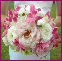 wedding photo - Real Touch Fuchsia, White and Blush PInk Bridal Bouquet and Boutonniere Set