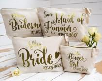 wedding photo - Personalised Bridal Party Gift Make Up Bag - Bridesmaid, Maid of Honour, Flower Girl Gift - Unique Gift for Bridal Party Bags, Makeup Bags