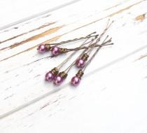wedding photo - Purple pearl bobby pins wire wrapped beaded hair accessories for womens hair accessories bohemian hair pins wedding rustic wedding hair pins