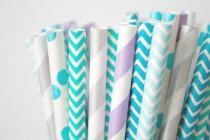 wedding photo - Teal, Purple and Silver Paper Straws . Mermaid Party Decor, Birthday Party Party Decorations,Frozen Winter Party, Cake Table