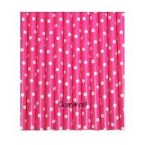 wedding photo - Hot Pink with TINY White Polka Dot Paper Straws