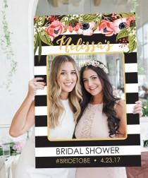 wedding photo - Bridal Shower Photo Prop - Wedding Photo Prop - Black and Gold - Stripes - DIGITAL FILE - Printed Option Available - Kate