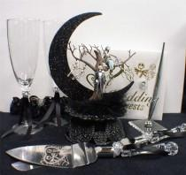 wedding photo - Nightmare before Christmas Wedding Cake topper Lot Glasses Server set Guest Book jack & sally