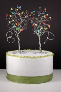 wedding photo - Rainbow Wedding Cake Topper Set of Two Trees with Initials