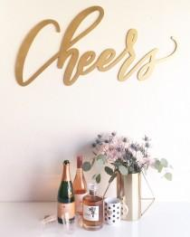 "wedding photo - Large Cheers Sign - Wedding Sign - Backdrop Sign - Birthday Sign - Laser Cut Wood 37"" Wide x 18"" tall - Shipped anywhere in USA"
