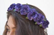 wedding photo - Purple Blue Rose Crown.  Rose Headband, Flower Crown, Floral Crown, Cobalt, Purple, Blue Rose, Purple, Festival Flower Crown, Gift Idea