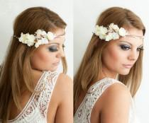 wedding photo - Flower Crown, Wedding Tiara, Wedding accessories, Bridal flowers, Fairy Crown,Floral garland, Festival or Bridal Hair Wreath, Hair Flowers