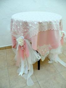 wedding photo - Shabby Chic Wedding Tablecloth/ Dusty Pale Pink Ivory Linen Tablecloth/ Square Tablecloth/ Wedding Tablecloth/ Round Table Cloth/ Tablecloth