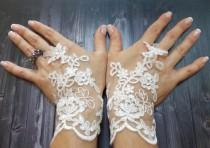 wedding photo - Free Shipping, White Wedding Gloves, Bridal Lace Gloves, Fingerless gloves, Fairy Wedding Gloves, Bridal cuff