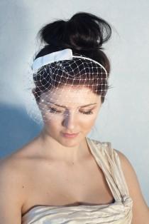 wedding photo - Bridal bow headband with birdcage veil, white bridal birdcage on a headband, wedding pearl veil Audrey Hepburn