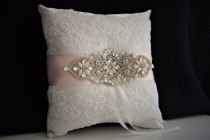 wedding photo - Ivory ring bearer pillow  bling wedding pillow  Ivory blush bearer  blush pink bearer, Jewel ring pillow, brooch ring bearer, lace bearer