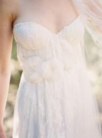 wedding photo - Bridal Sash, Floral, Pearls, Silk Flower, Lace - Style 205