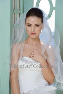 wedding photo - Designer One Tier Embroided Bridal Wedding Veil Fingertip Style VE301 NEW CUSTOM VEIL