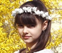 wedding photo - Flower Girl Crown, Flower Girl Hair Wreath, White Weddings, Baby Flower Crown, Flower Girl Halo, Infant Headband, Girl Woodland Flower Crown