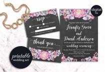 wedding photo - Printable Wedding Invitation, Floral Wedding Invitation Boho, Grey Pink Purple Wedding Invitation, Watercolor Rustic Wedding Invitation Set