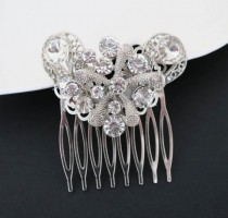 wedding photo - Bridal Crystal Hair Comb Ocean Wedding Marine Silver Coral Wedding Head Piece Bridal Rhinestone Haircomb Summer Wedding Bridal Hair Piece