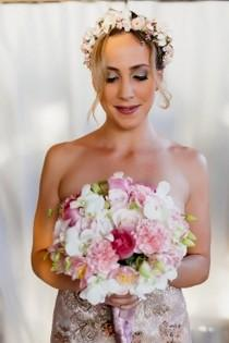 wedding photo - Champagne Floral crown Bridal hair wreath elegant headdress blush gold pink mauve Goddess wedding accessories silk flowers halo
