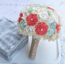 wedding photo - Wedding Bouquet - Mint, Coral // Bridal Bouquet, Mint Green, Wedding Flowers, Bridal Flowers, Sola Wood Flowers, Lace Flower, Flower Bouquet