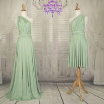 wedding photo - Sage green bridesmaid dress infinity Dress Convertible Formal,wrap dress party dress Evening dress -C43# B43#