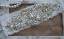 wedding photo - Wedding Garter, Bridal Garter, Vintage Wedding, Lace Garter, Crystal Garter, Pearl Garter -Style 200