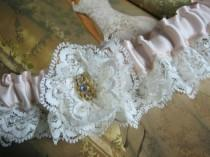 wedding photo - Ivory Satin and Lace Garter