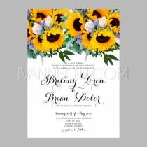 wedding photo - Sunflower wedding invitation printable template with floral wreath or bouquet of rose flower and dai - Unique vector illustrations, christmas cards, wedding invitations, images and photos by Ivan Negin