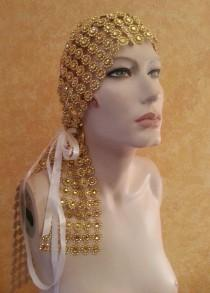 wedding photo - Golden Gatsby Goddess Illusion Jewel Mesh Satin Bridal Headpiece Wedding Party Costume