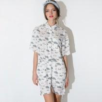 wedding photo - Navy cartoon print single shirt dress with short sleeves dress - Bonny YZOZO Boutique Store