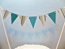 wedding photo - Teal Cake Topper Banner, Stripes and Solids