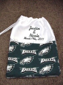 wedding photo - Personalized  Philadelphia Eagles Football Satin Drawstring Money Card Bag Bridal Dance Wedding Reception
