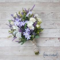 wedding photo - Wildflower Bouquet - Lavender Bouquet, Purple Bouquet, Fall Bouquet, Boho Bouquet, Rustic Bouquet, Silk Flowers, Artificial Lavender, Faux