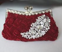 wedding photo - Burgundy Bridal Clutch - satin purse w/  Swarovski big Crystal feather brooch