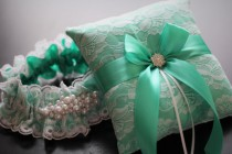 wedding photo - Mint Ring Bearer Pillow  Mint Bridal Garter Set  Mint Wedding Garter  Mint Wedding Pillow  Mint Lace Garter Pillow Set, Mint Garter Belt