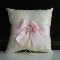 wedding photo - Pink Wedding Pillow   Pink Wedding basket  Blush Flower Girl Basket & Pink Ring bearer Pillow  Lace Wedding Pillow Basket Set