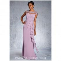 wedding photo - Elegant Sheath/Column Bateau Sleeveless Beaded and Applique Floor-length Chiffon Mother of Bride Dress - dressosity.com