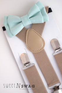 wedding photo - SUSPENDER & BOWTIE SET.  Newborn - Adult sizes. Beige / Tan suspenders. Mint Denim bow tie