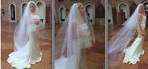 wedding photo - 3-Tier Cathedral Veil & detachable 2-Tier Fingertip Veil w/ Blusher, Traditional Veil - Renee