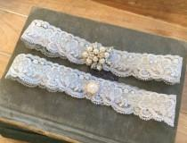 "wedding photo - Blue Lace Wedding Garter Set, Something Blue Bridal Garter Set, Blue Wedding Garters, Blue Garters w/ Pearls & Crystals, ""Paige"" Garter Set"