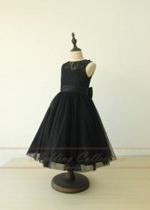 wedding photo - Black Flower Girl Dresses First Communion Dresses Lace Tulle Beautiful Dresses for Grils