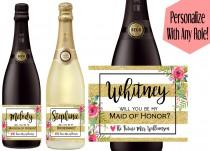 wedding photo - Custom Bridesmaid Proposal Gift - Bridesmaid Champagne Bottle Label - Will You Be My Bridesmaid Gift Idea