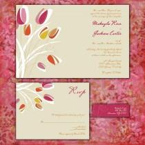wedding photo - Modern Tulips Custom Wedding Invitation Suite with RSVP cards and address labels